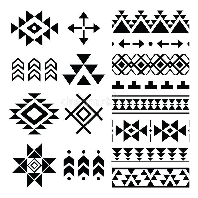 那瓦伙族人印刷品,阿兹台克样式,部族设计元素 向量例证