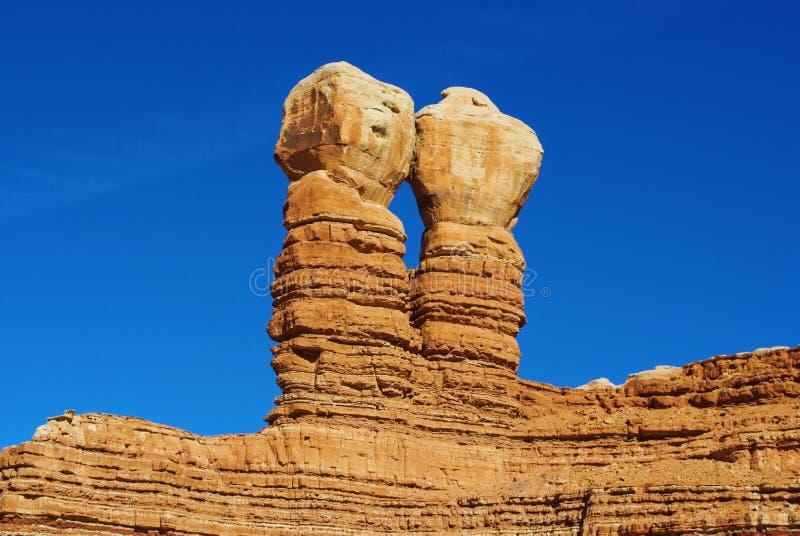 那瓦伙族人双岩石,虚张声势,犹他 免版税图库摄影