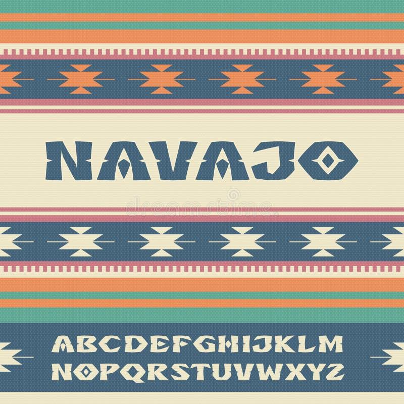 那瓦伙族人 仿照印地安部落的装饰品的样式字体 向量例证