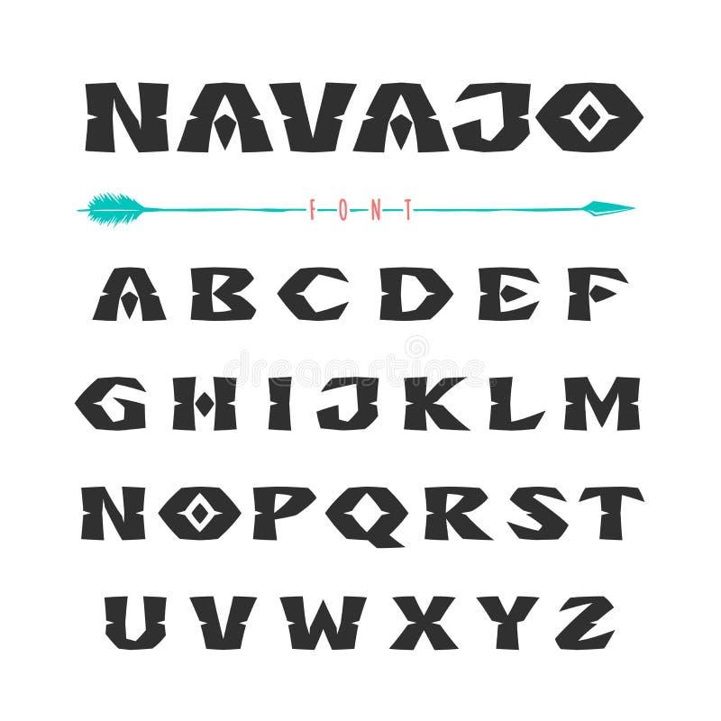 那瓦伙族人 仿照印地安部落的装饰品的样式字体 库存例证
