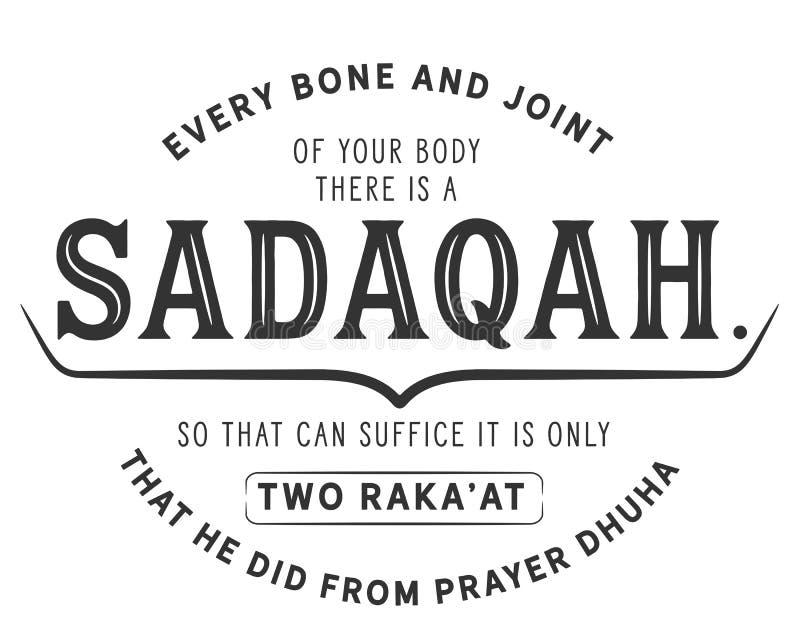那里您的身体每骨头和联接是sadaqah,因此可能足够了这是仅两raka'在他从祷告dhuha做的那 向量例证