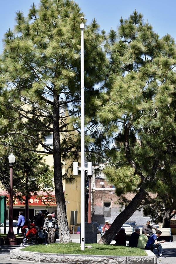 那里美国国旗在旧金山首先提出了 库存图片
