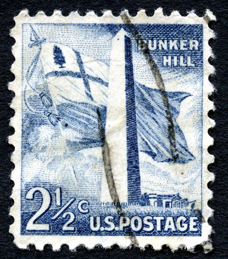 邦克山美国邮票 免版税图库摄影