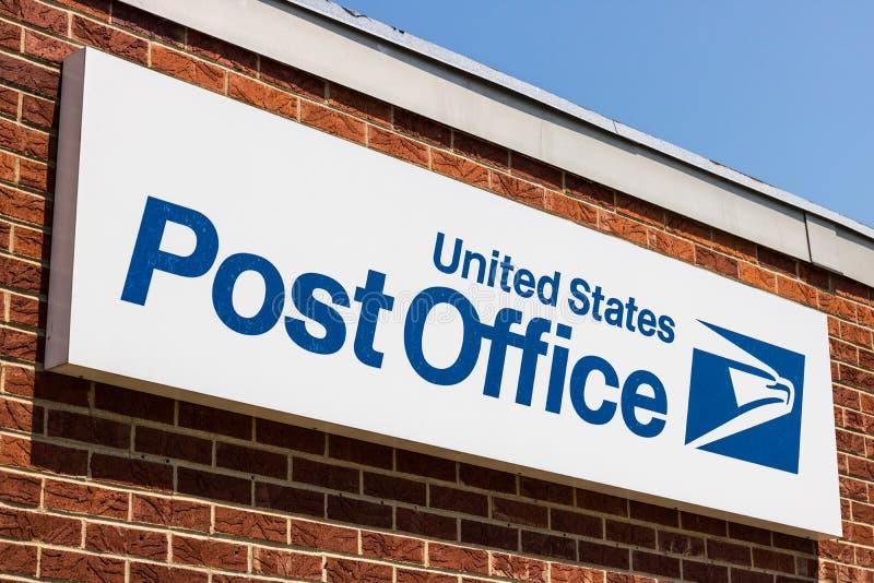 邦克山-大约2018年8月:USPS邮局地点 USPS对提供邮件交付VI负责 库存图片