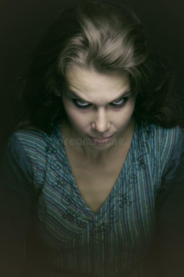 邪恶的可怕鬼的妇女 免版税图库摄影
