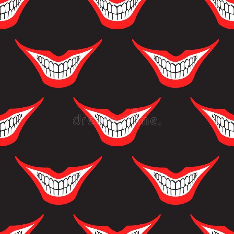 邪恶的小丑或卡片说笑话者微笑无缝的样式 向量例证