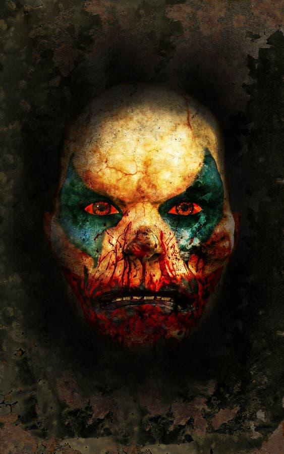 邪恶的小丑面孔墙纸背景 向量例证