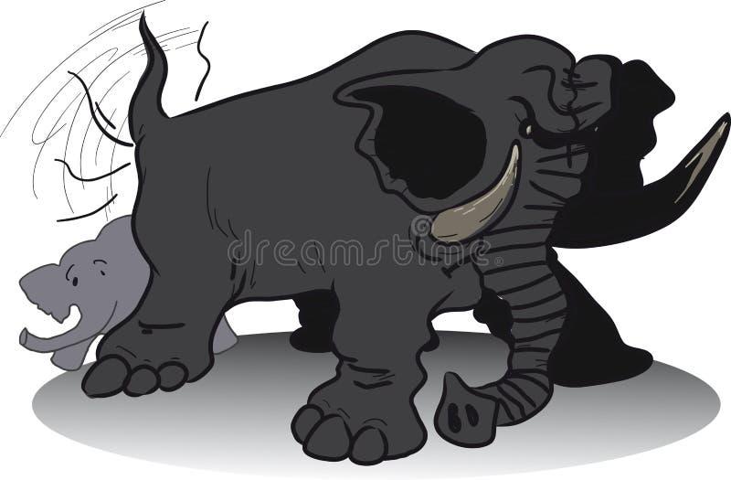 邪恶的巨大的大象 库存例证