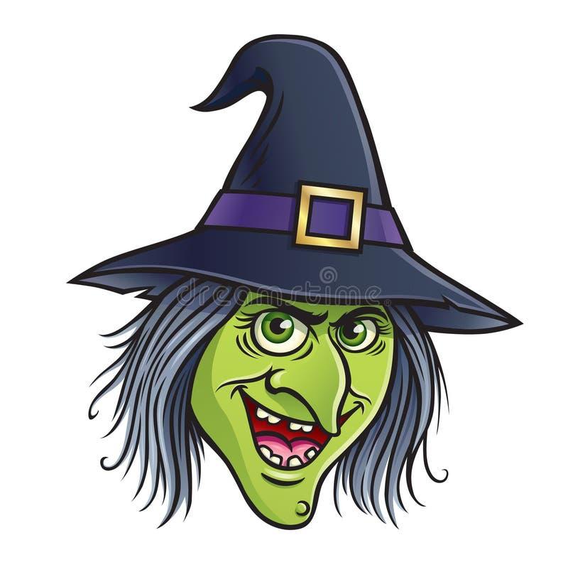 邪恶的巫婆面孔 向量例证