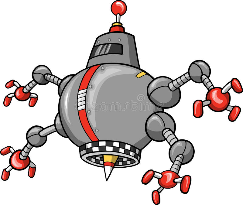 邪恶的机器人向量 库存例证
