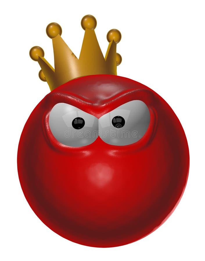 邪恶的红色国王面带笑容- 3d例证 库存例证