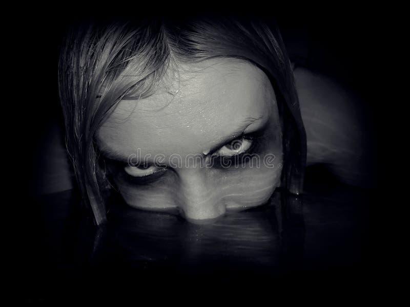 邪恶的美人鱼画象  免版税库存照片