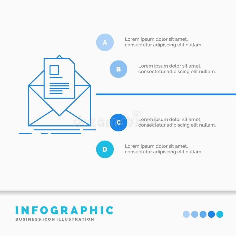 邮件、合同、信件、电子邮件、简报Infographics模板网站的和介绍 r 向量例证