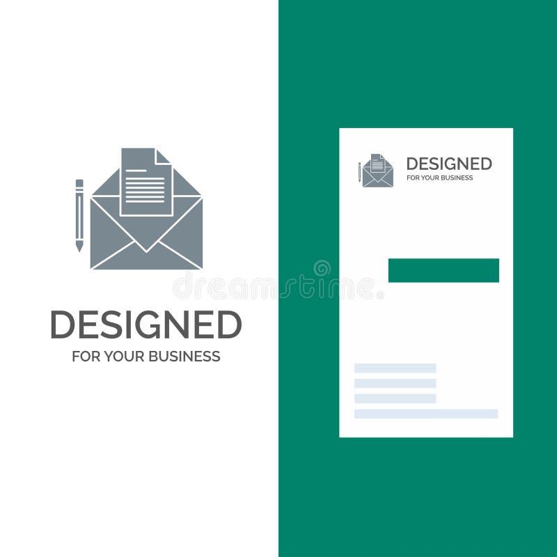 邮件、消息、电传、信件灰色商标设计和名片模板 库存例证