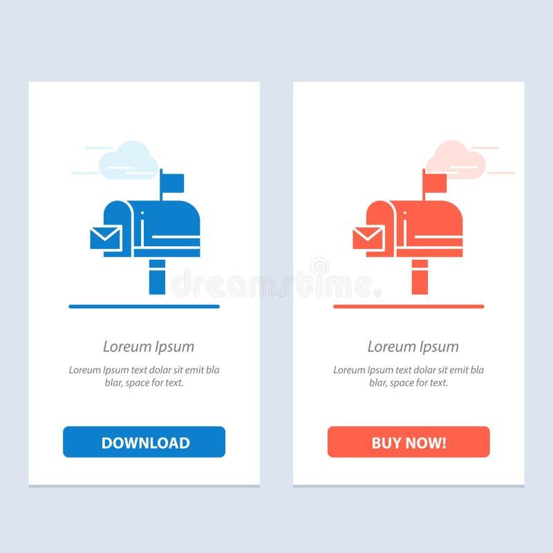 邮件、箱子、消息、电子邮件蓝色和红色下载和现在买网装饰物卡片模板 皇族释放例证