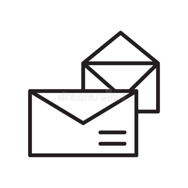 邮件在白色背景、邮件标志、线性标志和冲程设计元素隔绝的象传染媒介在概述样式 库存例证