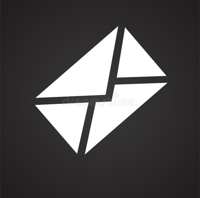 邮件在黑背景的信封象图表和网络设计的,现代简单的传染媒介标志 背景蓝色颜色概念互联网 时髦标志为 皇族释放例证