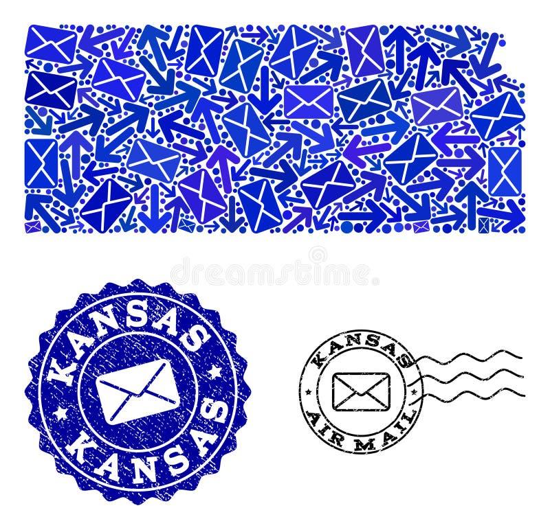 邮件堪萨斯状态和难看的东西邮票军用镶嵌地图方式拼贴画  皇族释放例证