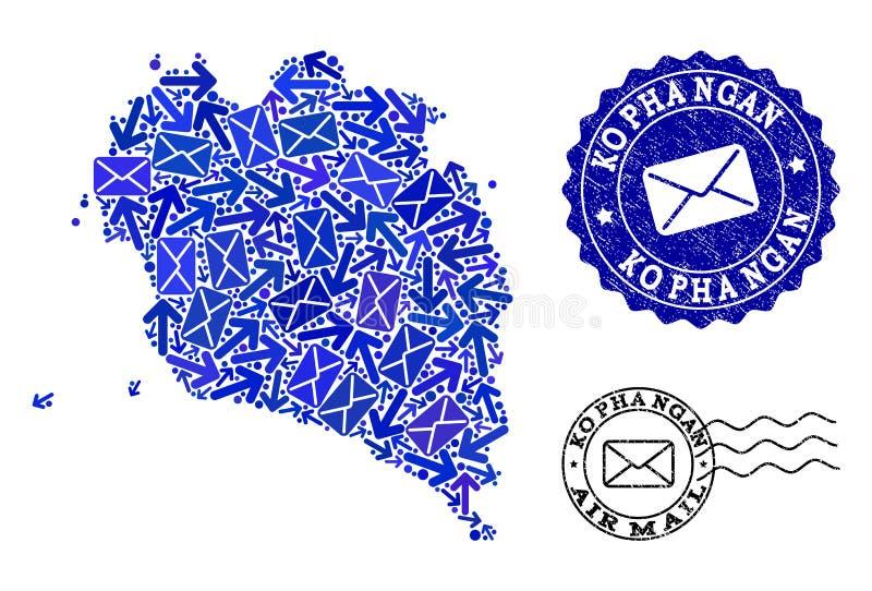 邮件帕岸岛和被抓的封印军用镶嵌地图方式拼贴画  皇族释放例证
