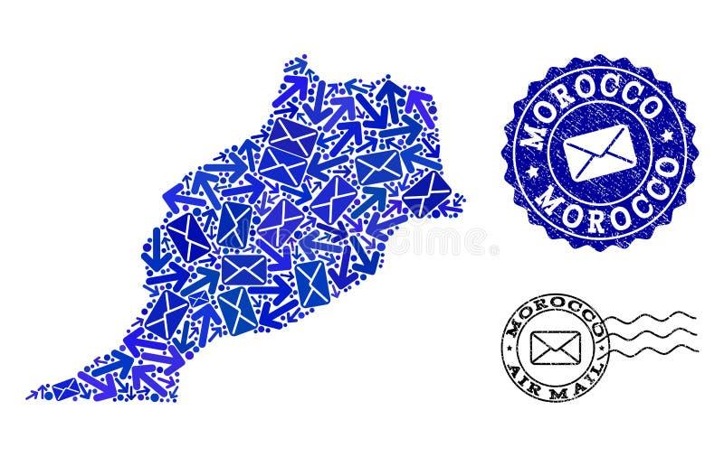 邮件摩洛哥和织地不很细封印军用镶嵌地图方式拼贴画  向量例证