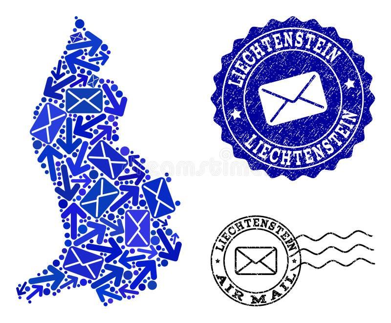 邮件方式结构的列支敦士登和困厄封印军用镶嵌地图  库存例证