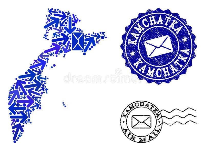 邮件方式结构的堪察加半岛和困厄邮票军用镶嵌地图  皇族释放例证