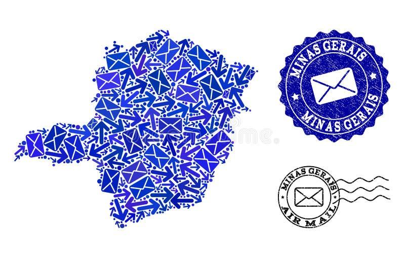 邮件方式结构的米纳斯吉拉斯州状态和难看的东西邮票军用镶嵌地图  库存例证