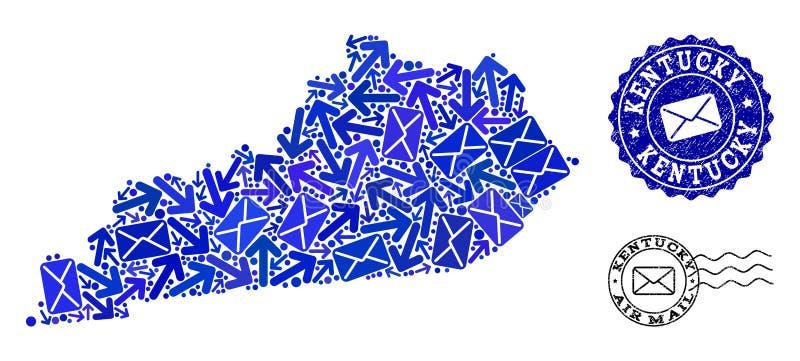 邮件肯塔基州和难看的东西邮票军用镶嵌地图方式拼贴画  皇族释放例证