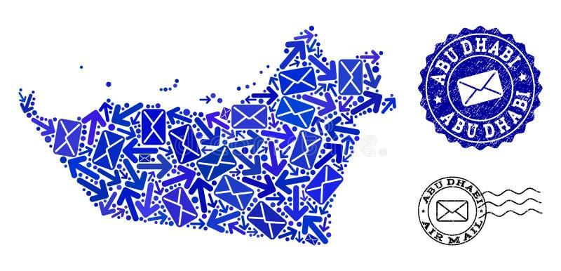 邮件阿布扎比酋长管辖区和被抓的邮票军用镶嵌地图方式拼贴画  库存例证