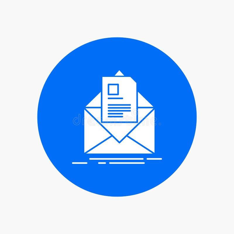 邮件,合同,信件,电子邮件,在圈子的简报白色纵的沟纹象 r 向量例证