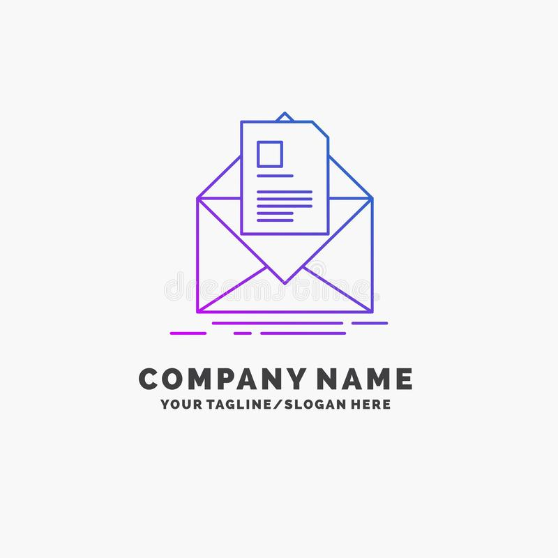 邮件,合同,信件,电子邮件,简报紫色企业商标模板 r 皇族释放例证