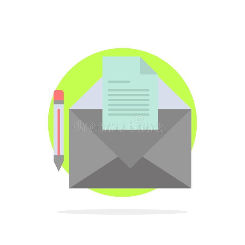 邮件,消息,电传,信件摘要圈子背景平的颜色象 向量例证