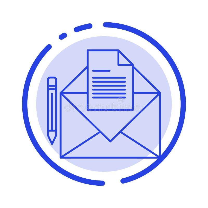 邮件,消息,电传,信件蓝色虚线线象 皇族释放例证