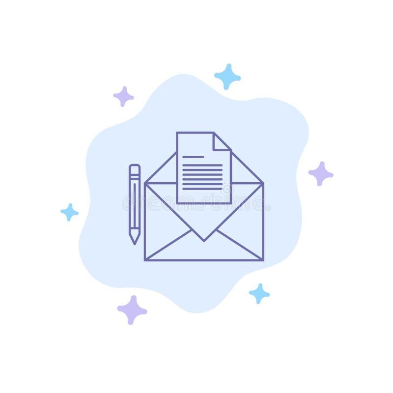 邮件,消息,电传,在抽象云彩背景的信件蓝色象 库存例证