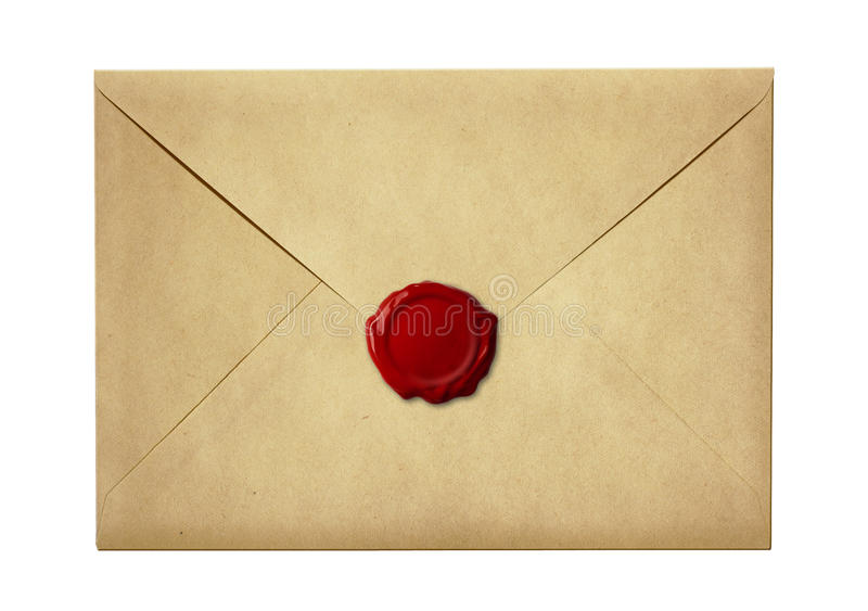 邮寄信封或信密封与蜡封印邮票 免版税库存图片
