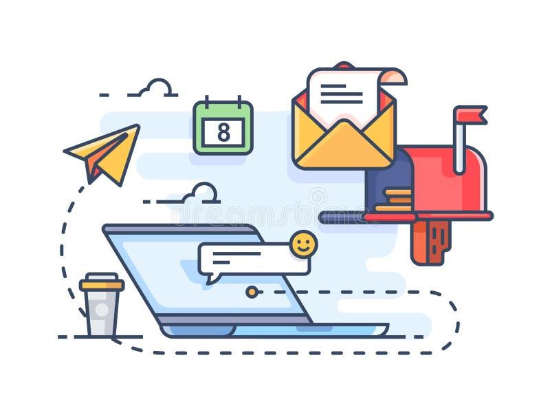 邮寄对电子邮件的邮件营销 皇族释放例证