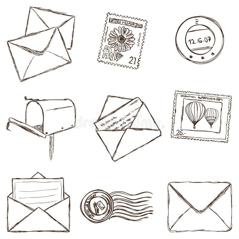 邮寄的图标的例证-草图样式 皇族释放例证