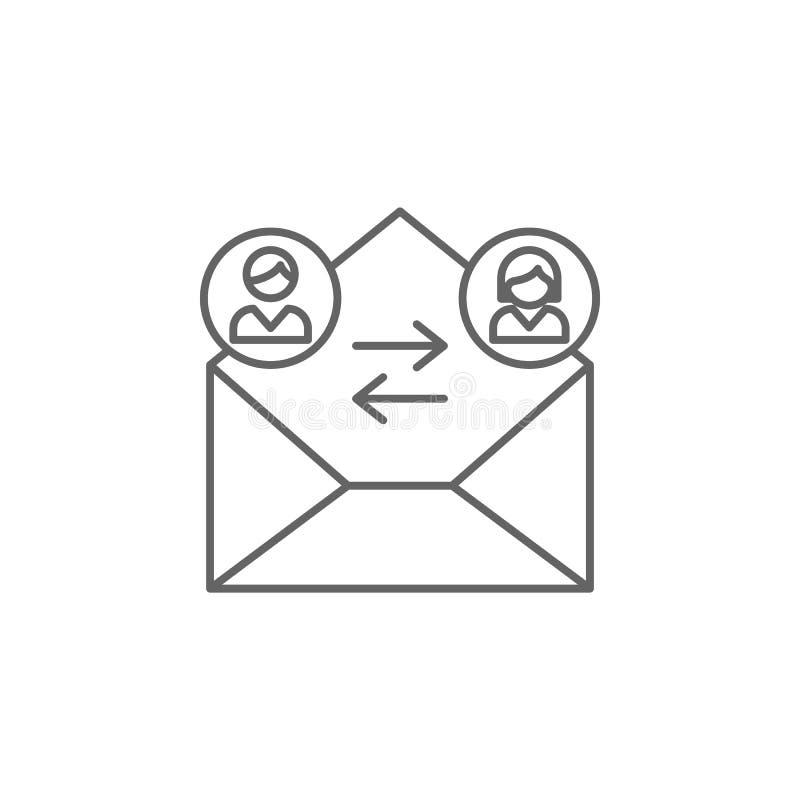 邮寄的朋友概述象 友谊线象的元素 标志、标志和传染媒介可以为网,商标,流动应用程序使用, 向量例证