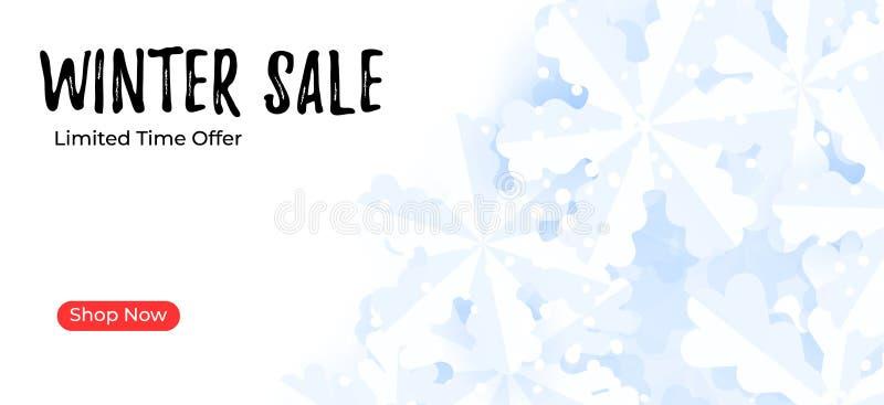 邮寄的横幅模板 冬天与雪花的销售背景 库存例证