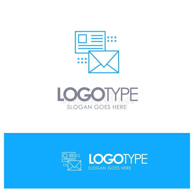 邮寄,交谈,电子邮件,名单,与地方的邮件蓝色概述商标口号的 向量例证