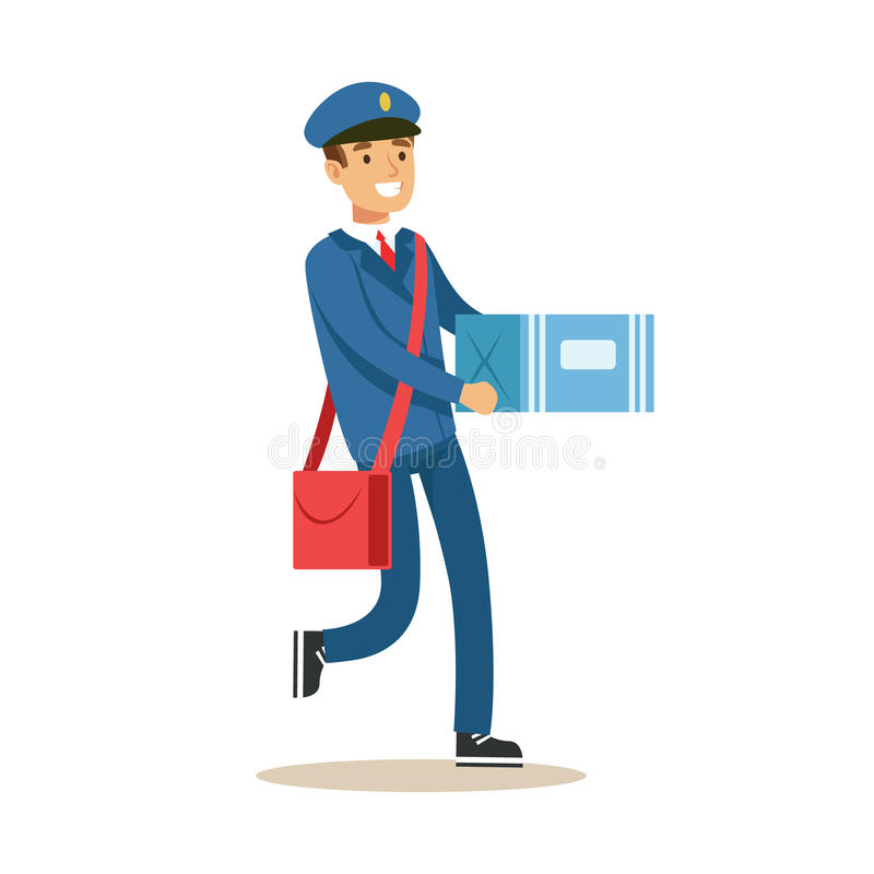 邮差蓝色一致的交付的邮件,运载纸盒Bax小包,与微笑的履行的邮递员责任 库存例证