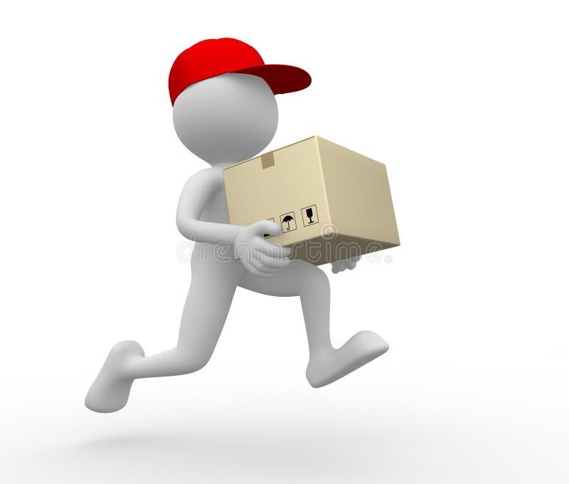 邮差,交付。 向量例证
