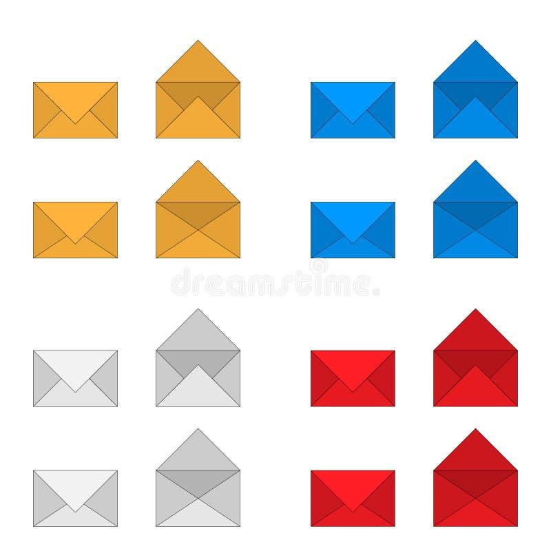 邮政信封colorfull传染媒介图画象集合 向量例证