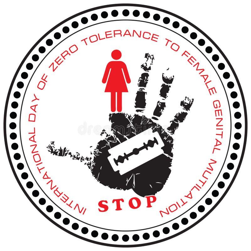 邮票中止女性生殖切断 向量例证