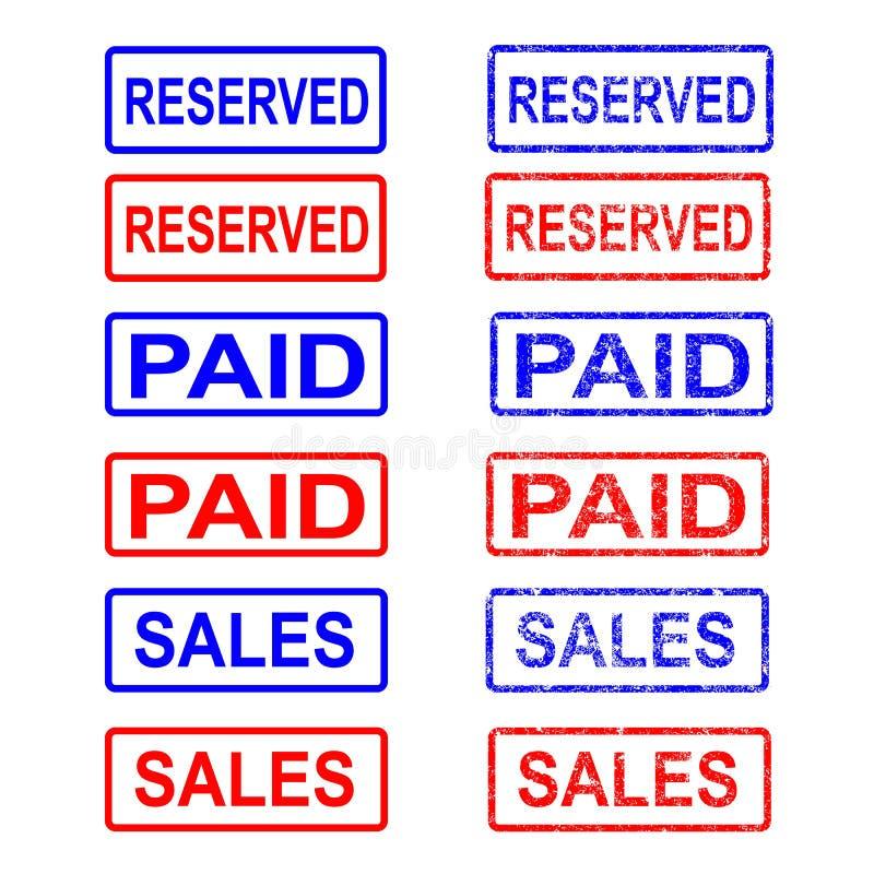 邮票和邮票,付款,卖,被预留 r 库存例证