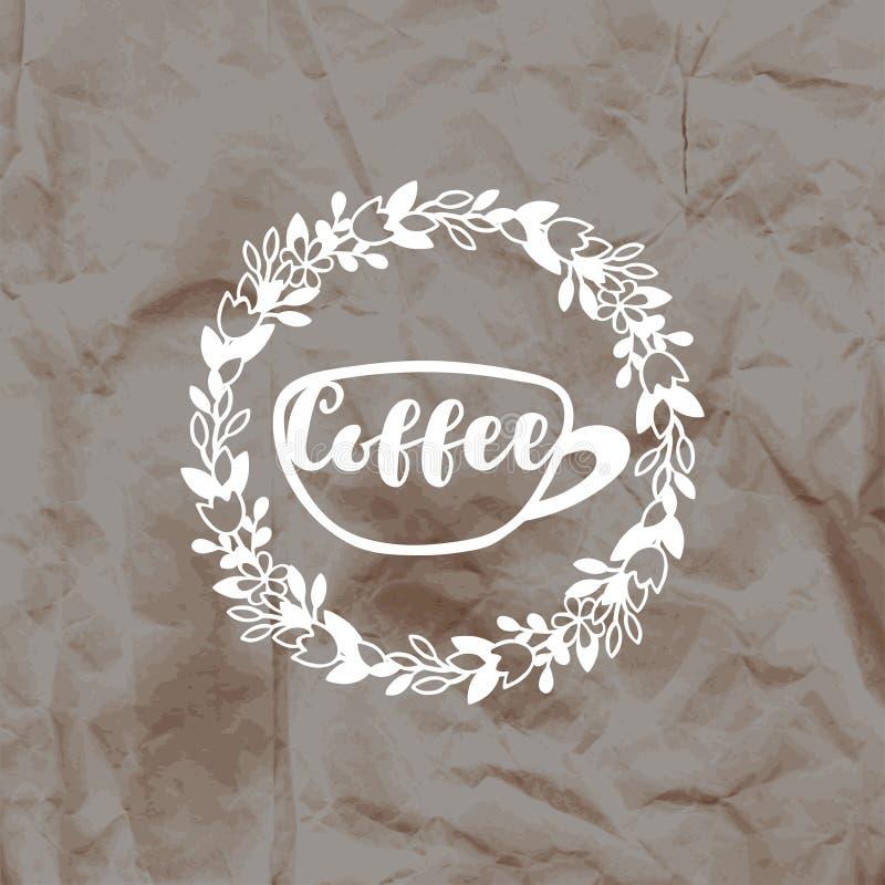 邮票咖啡的版本记录在被弄皱的牛皮纸背景的 向量例证
