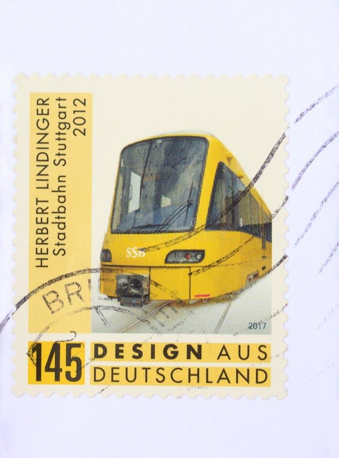 邮票德国赫伯特Lindinger都市火车斯图加特 免版税图库摄影