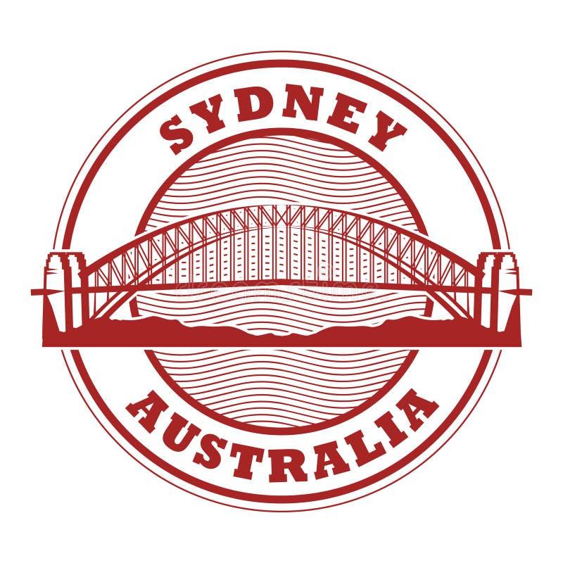 邮票悉尼港桥,澳大利亚 向量例证