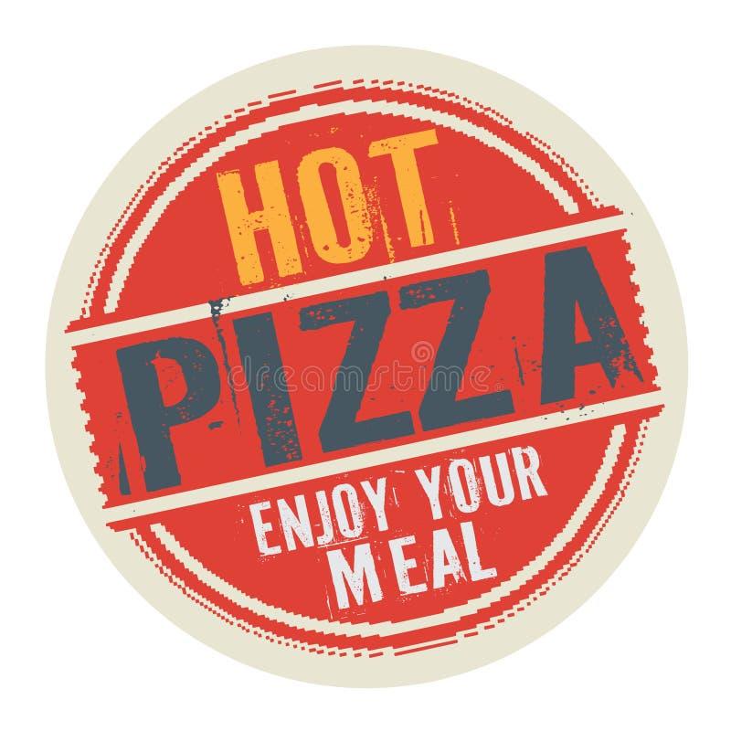 邮票或标签用文本热的比萨,享受您的膳食 皇族释放例证