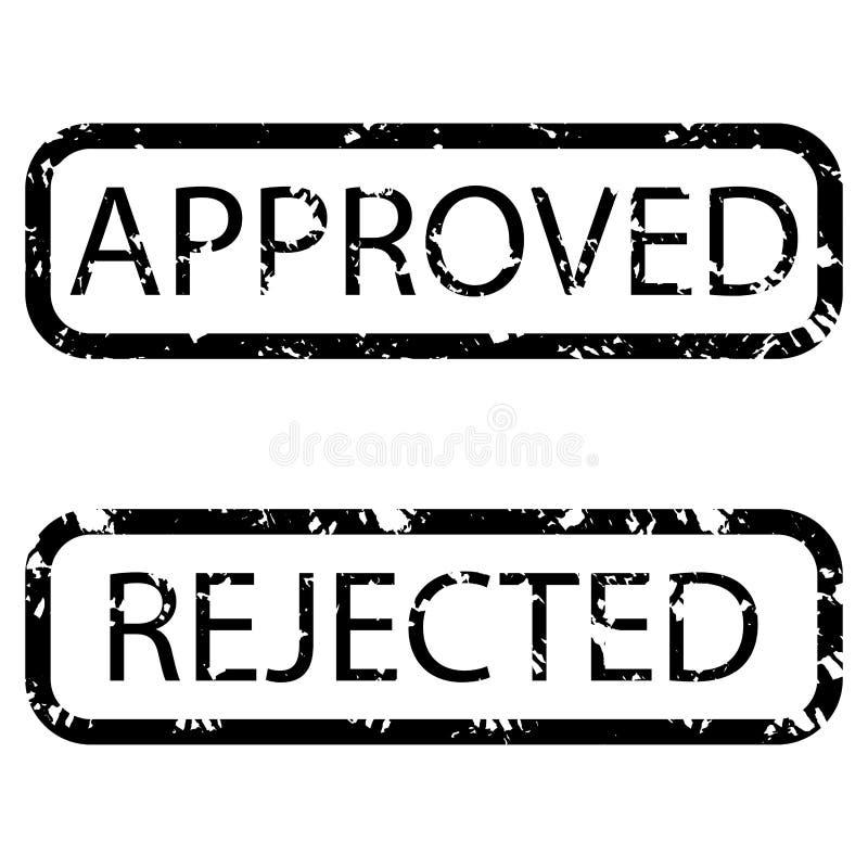 邮票纹理现实批准和拒绝 库存例证